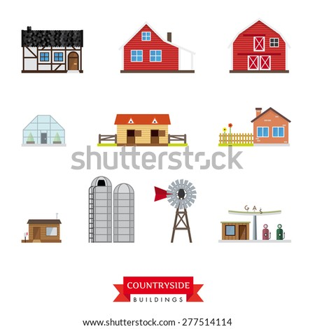 Countryside Buildings Vector Set. Collection of 10 flat design buildings typical of the countryside and rural area. - stock vector