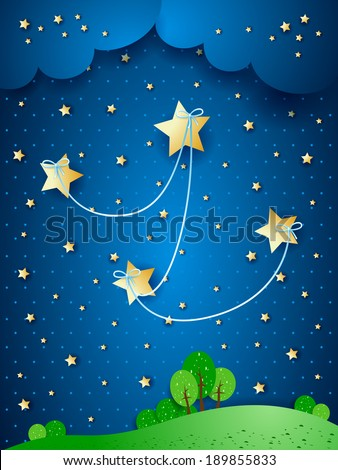 Countryside by night, fantasy illustration. Vector