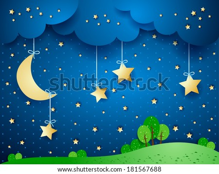 Countryside, fantasy landscape. Vector  - stock vector