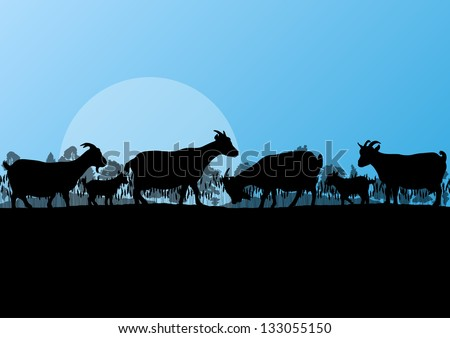 Countryside farm dairy goats herd in wild nature mountain forest landscape illustration background vector