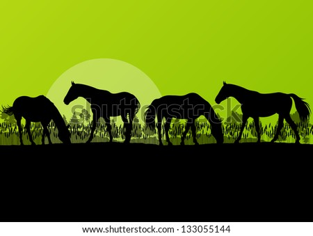 Countryside farm horses silhouettes in wild nature mountain forest landscape illustration background vector - stock vector
