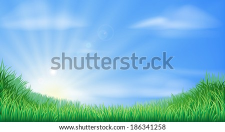 Countryside field and sun rise background with beautiful blue sky - stock vector