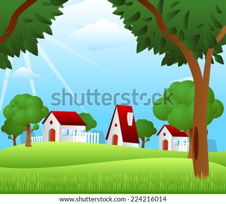 Countryside houses rural granary storehouse shelter cabin farm scene - stock vector