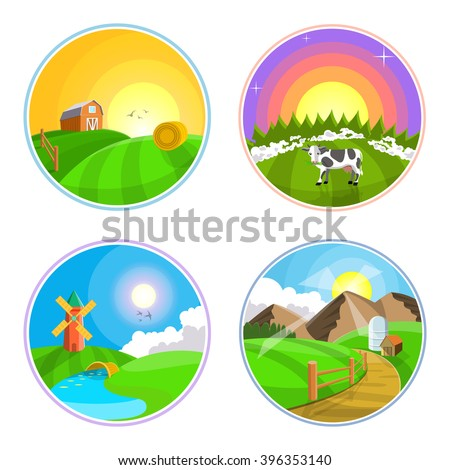 Countryside landscape illustration with hay, field, village and windmill. Farm landscape icon set.  - stock vector