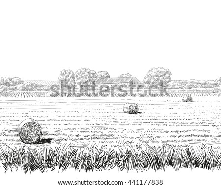 Countryside landscape sketch design silhouette. Hand drawn vector illustration