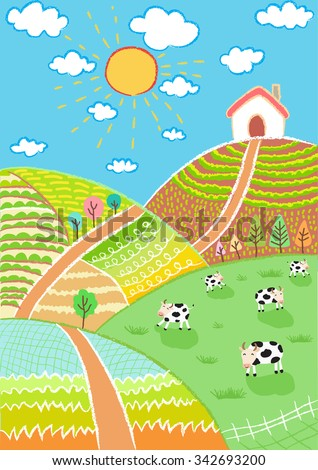 countryside landscape vector illustration