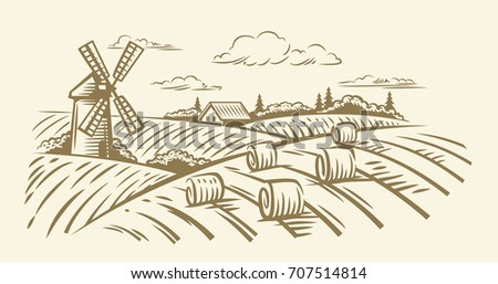 Countryside landscape with hay vector hand illustration