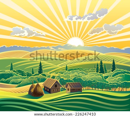 Countryside landscape, with houses. - stock vector