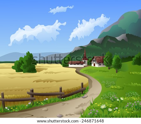 Countryside landscape with mountains - stock vector