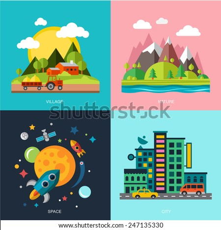 Countryside, mountains and hills, the rocket space, city, big houses. Four story  flat style - stock vector