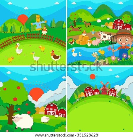 Countryside scene with farmer and animals illustration - stock vector