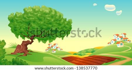Countryside. Vector and cartoon landscape. - stock vector