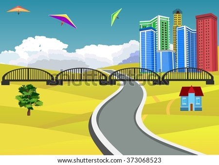 Countryside view vector illustration, yellow hills,3d buildings, bly sky on background, clouds on horizon. Road on foreground