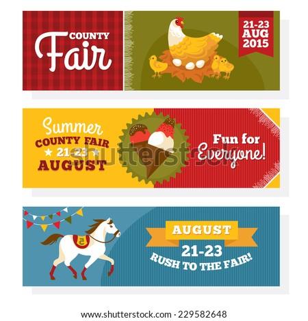 County fair vintage banners vector illustration  - stock vector