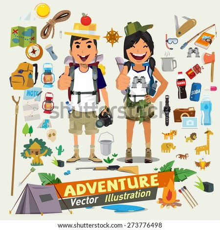 Couple  adventure character design with survial icon kit. Adventure concept- vector illustration - stock vector