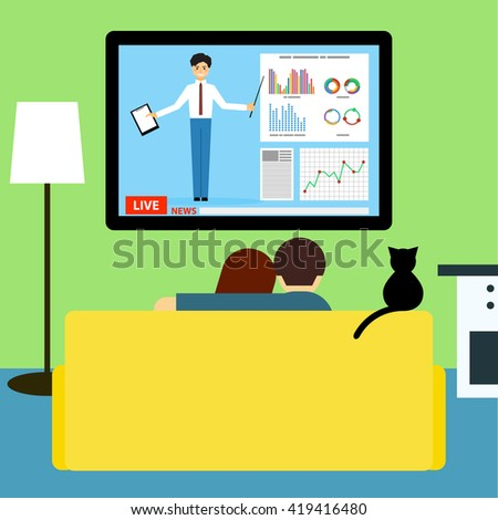 Couple and cat watching business news on television sitting on couch in room. Flat style. - stock vector