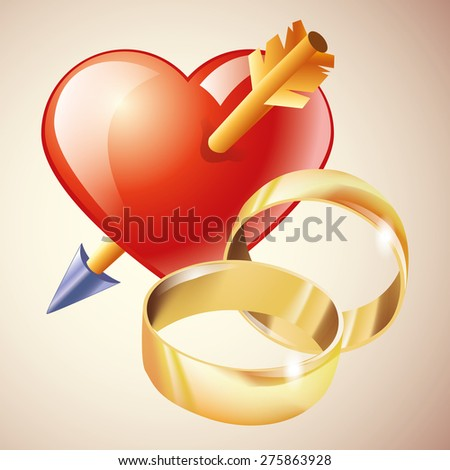 Couple and wedding rings icon isolated  - stock vector