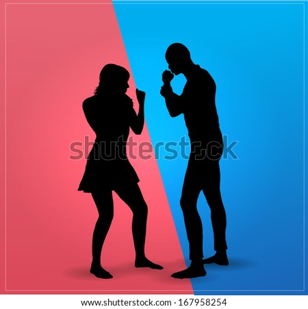 Couple argue fight  : boxing - stock vector