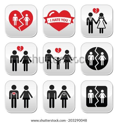 Couple breakup, divorce vector buttons set  - stock vector