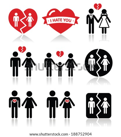 Couple breakup, divorce vector icons set  - stock vector