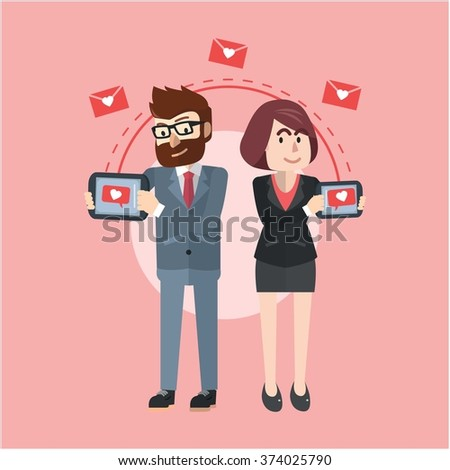 Couple business chat - stock vector