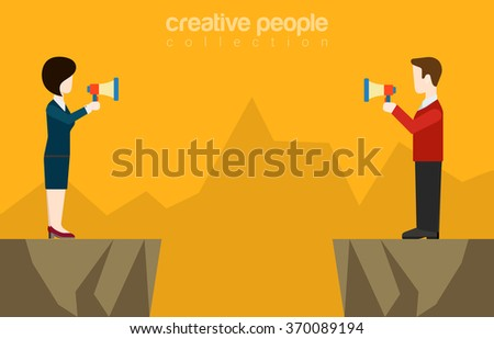Couple businessman businesswoman talking megaphone loudspeaker opposite sides canyon chasm abyss  background. Flat web site vector illustration. Misunderstanding conflict opposition business concept. - stock vector