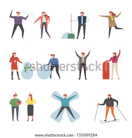 Couple character playing in winter snow vector illustration flat design