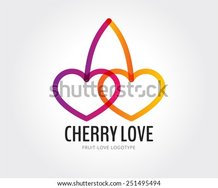 Couple cherry love fruit logo. Hearts icons love icons template design. Fresh,valentine, red,love,healthy. Cherry together logo.Together icons. Relations concept. Union, charity,love,togetherness logo - stock vector