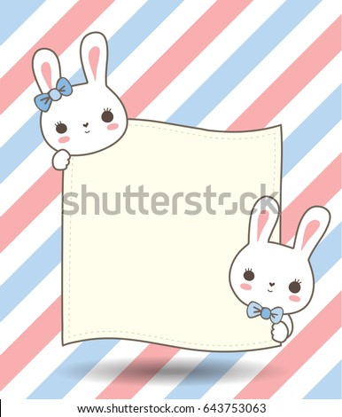 Couple Cute Bunny Hold Card Paper Stock Vector 643753063 - Shutterstock