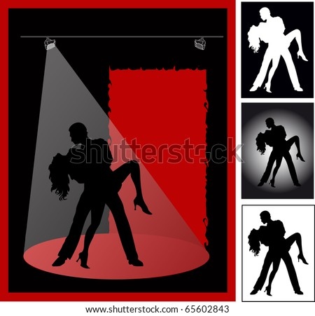 Couple dances a passionate tango on  black background in the light of spotlights