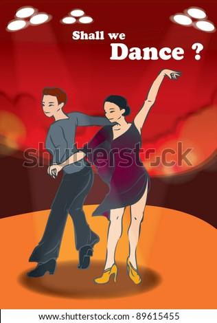 Couple dancing - stock vector