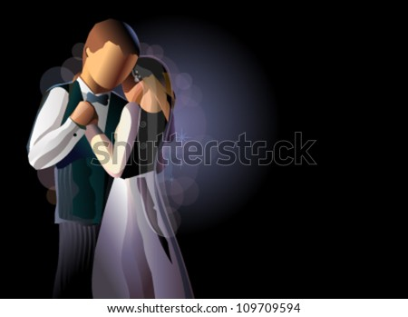couple dancing in the wedding night, vector illustration - stock vector