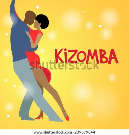 Couple dancing Kizomba in bright costumes. Vector illustration. - stock vector