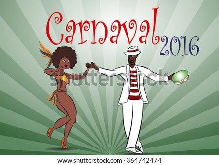 couple dancing Samba on a green background - stock vector