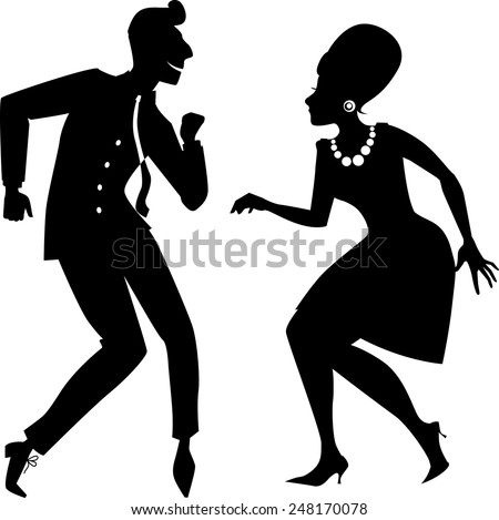 Couple dancing the twist vector silhouette - stock vector