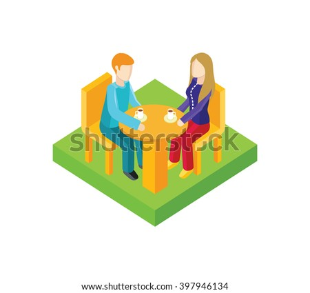 Couple date in cafe isometric design. Couple in cafe, date man and woman, love people, romantic lover, valentine togetherness, isometric date man and woman. Coffee and romance. Vector illustration - stock vector