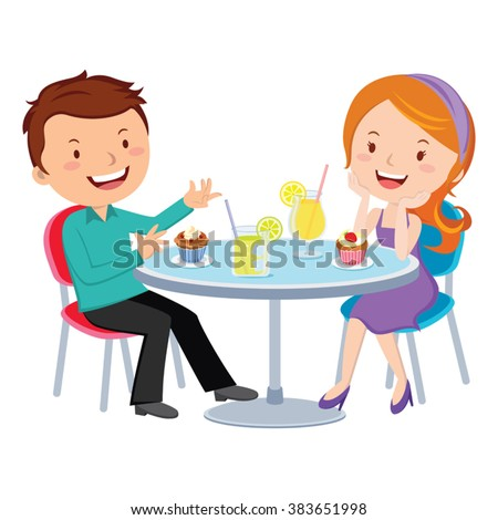 Couple dating. Vector illustration of young couple sitting at a restaurant.  - stock vector