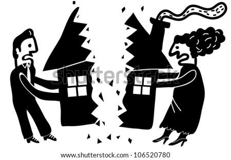 couple dividing their house - stock vector