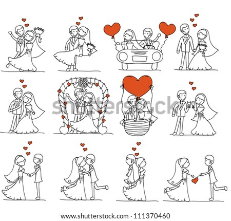 couple doodle wedding - stock vector