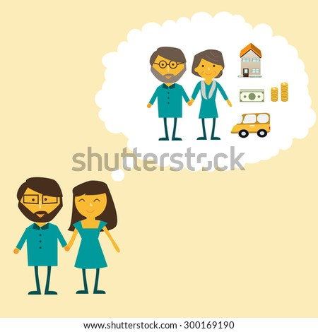 Couple dreaming about the retirement  life vector. illustration EPS10 - stock vector