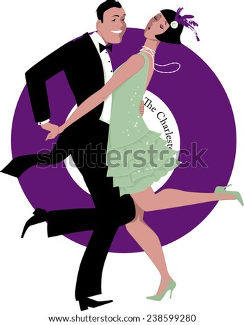 Couple dressed in 1920s fashion dancing the Charleston, a gramophone record on the background - stock vector