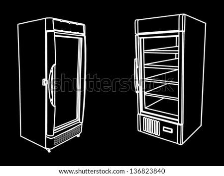 couple drink refrigerators isolated on black background. Drink refrigerator vector. Vertical empty fridge vector. - stock vector