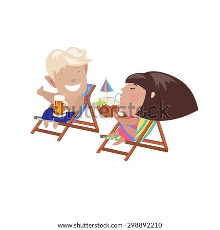 Couple drinking beverages sitting in the deck chairs. Vector isolated illustration - stock vector