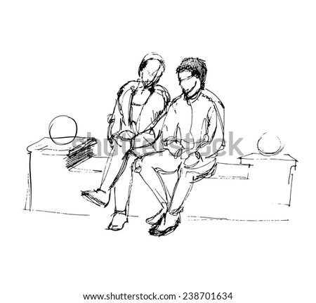 Couple friends talking while sitting on a bench in the mall - stock vector