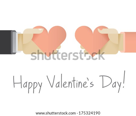 Couple giving each other red hearts with love. Idea - Valentine's Day card. Enjoy! - stock vector