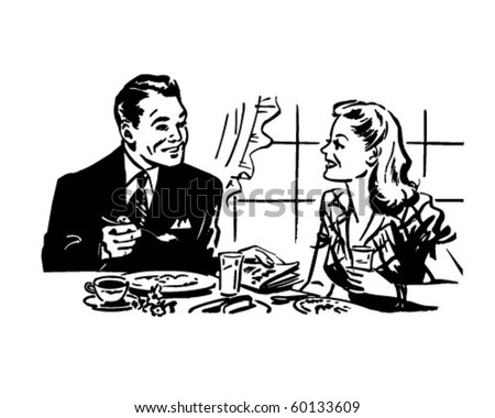 Couple Having Breakfast - Retro Clip Art - stock vector