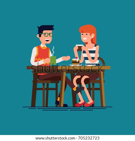 Couple having coffee date. Flat design vector concept on young adult man and woman enjoying their first date conversation. Guy and girl together drinking hot beverages