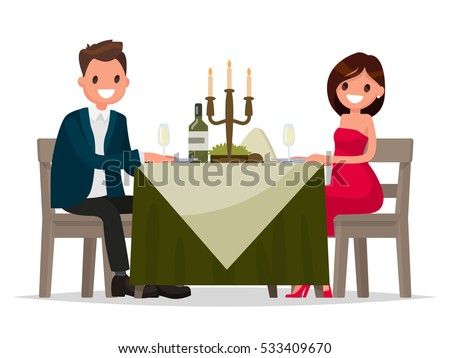 Couple having dinner by candlelight. Man and woman sitting at the table. Vector illustration in flat style