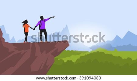 Couple Hiking Man Woman Silhouette Traveler Stand On Mountain Rock Cliff Point Hand Green Valley Nature Background Vector Illustration - stock vector
