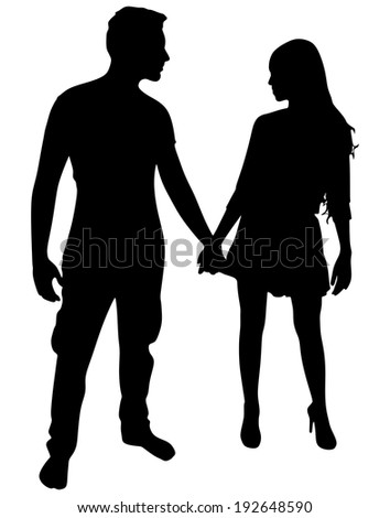 couple holding hands, vector  - stock vector